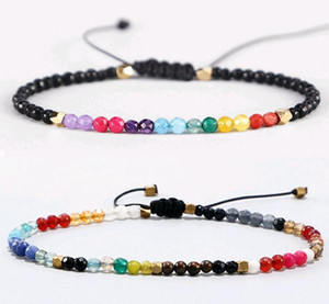 12 Constellation Lucky Natural Stone Bracciale semplice perline Bracciale regolabile Hollywood Crystal Beads Bohemia Bracelets