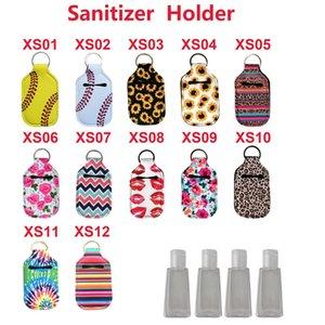 Neoprene Cover Hand Sanitizer Holder Baseball Softball Neoprene For 30ML Flip Cap Size organization Holder with Keychain KKA7727