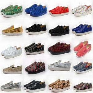 Designer Sneakers Red Bottom shoe Low Cut Suede spike Luxury Shoes For Men and Women Shoes Party Wedding crystal real Leather Sneakers