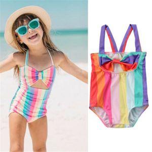 3Pcs Toddler Kids Baby Girl Swimsuit Swimwear Cute One Piece Bikini Bathing Suit Rainbow Striped Bikini Bowknot Beachwear 2-6T