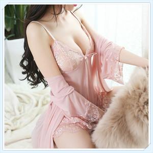 Três peças de renda sexy pijama europeus e americanos interesse adulto perspectiva roupa interior vestido de malha suspender camisola das mulheres