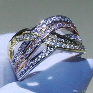Victoria choucong Brand New Croce Anelli argento 925 Separare Colore Bianco. Regalo Topaz CZ Eternity Diamond Wedding Band donne Anelli