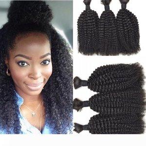 Malaysian Human Hair Bulk 3 Pcs lot Kinky Curly Hair Bulk For Braiding Hair Extensions Natural Color No Attachment FDSHINE