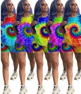 Sommer-Sport der Frauen Anzüge Mode Druckanzügen gemeinsamen Trend Druck kurzärmeliges Shorts Rundhals 2-teilige Anzug DHL Sportbekleidung 5201
