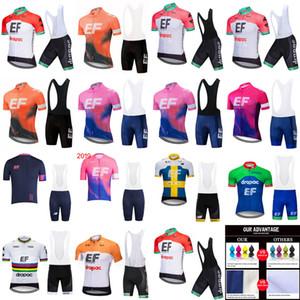EF 에듀케이션 퍼스트 팀 짧은 소매 사이클링 저지 턱받이 반바지 세트 산악 자전거 의류 통기성 야외 스포츠웨어 A6167