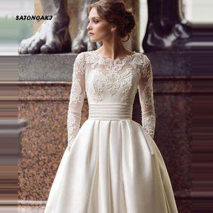 Vestido de la boda modesta de manga larga vestido de novia 2020 de la cucharada de raso una línea de apliques con bolsillos Vestidos de novia