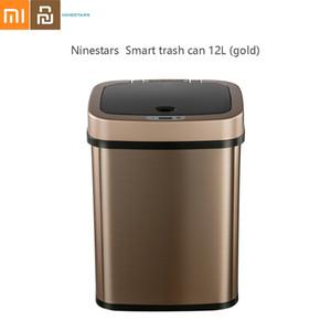 La basura sensor inteligente NST Ninestars Can cuadrado del acero inoxidable Cubo de la basura cubo de basura Oficina Papelera de Oro 12L De Xiaomi youpin Y200429