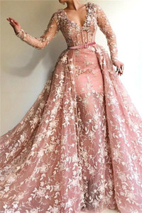2020 Pink 3D Flowers Lace Prom Dresses Deep V Neck A Line Long Sleeved Evening Gowns Plus Size Red carpet Celebrity Dress BC3390