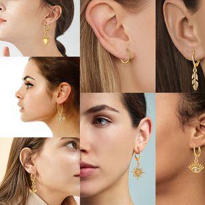 Or 18k Boucles d'oreilles pour les femmes de la Croix-ethnique fleur de coeur Dangle à paupières Star Charm Anneau d'oreille 2020 Set Mode Bijoux
