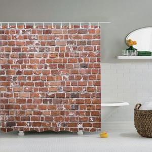 Dafield Tuğla Duş Perde Rustik Red Brick Duvar Backdrop Kentsel Kayrak Taşı PlarforM İstasyon Banyo Duş Perdesi