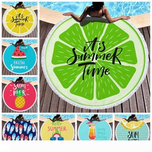 Round Beach Towel Fresh Summer Towels Microfiber Beach Blankets Tassel Swimming Towel Unisex Shawl Yoga Mat 150cm 16 Designs CA11799-1 6pcs