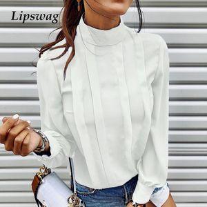 Lipswag Herbst Solid Color-Knopf-Blusen-Hemd Frauen 2019 Sexy O-Ansatz lange Hülsen-Bluse Tops Elegante Büroarbeit Blusen Weiblich