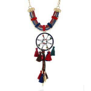 Neue europäische und amerikanische Schmuck Quasten Halskette explosive Farbe nationalen Wind Traum Fang net Schmuck