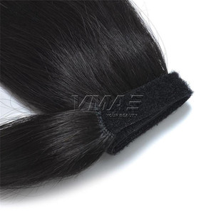 İnsan Saç Ponytail Around the Virgin Saç adet Atkuyruğu Wrap remy Kinky staight at kuyruğu Brezilyalı 100g 120g Kütikül Bağlantısızlar Pençe Klip