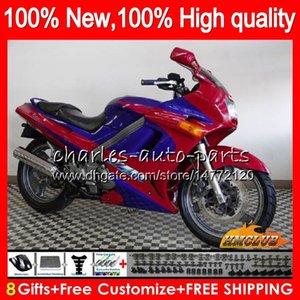Body + 8Gifts per Kawasaki ZZR250 90-99 90 91 95 96 97 98 99 54HC.50 ZZR250 ZZR 250 1990 1995 1996 1997 1998 1999 rosso blu kit carenatura caldo