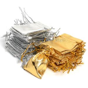 7x9 9x12 10x15cm 13x18cm Imballaggio gioielli regolabile Oro argento Colore Drawstring Bag Drawable Organza Borse Sacchetti regalo di nozze Sacchetti
