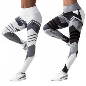 ملابس اليوغا 4-إبرة 6-الموضوع الرقمية طباعة السراويل تجريب طماق الورك رفع عالية الخصر الجري الرياضة الجوارب