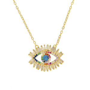Gold gefüllt Modeschmuck Baguette Zirkonia cz evil eye Boho Glück türkischen 2019 neue angekommen Schmuck Halskette