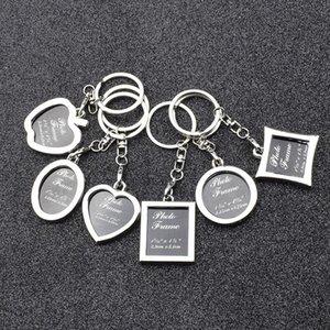6 modèles cadre photo alliage amant locket image porte-clés de la chaîne de clés pendentifs pomme coeur pour les femmes des hommes cadeau d'anniversaire dropship