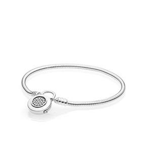 Orijinal 925 Ayar Gümüş Klasik Kilit Bilezik Kutusu Ile Pand Charms Kadınlar Düğün Takı Bilezikler W241