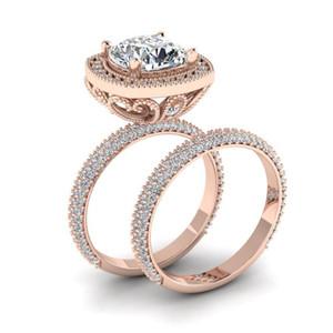 2pcs / Set exquisito 18K Rose oro blanco zafiro anillo de diamante aniversario Propuesta joyería mujeres del tamaño banda anillo de bodas del contrato 5-12