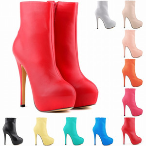 14 CM NEW ARRIVED WOMENS MATT LEATHER HIGH STILETTO HEELS CASUAL POINTED TOE ANKLE BOOTS SHOES Fashion Boots PLUS Women SIZE 4-11 35-42