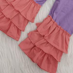 New Kids Girls Easter Boutique Outfit Стильный Симпатичные новорожденных малышей Банни с длинным рукавом с Рябь Брюки Одежда Set высокого качества