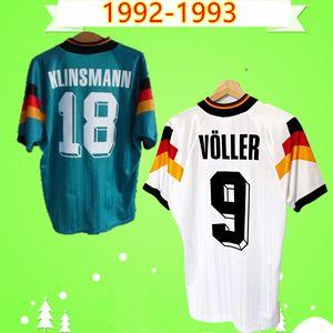 Germany Deutschland Alemania 1992 camisas de futebol 1993 RETRO camisa de futebol do vintage Voller Klinsmann 92 93 lar longe Moller camiseta Matthaus Moinho Kohler Maillot