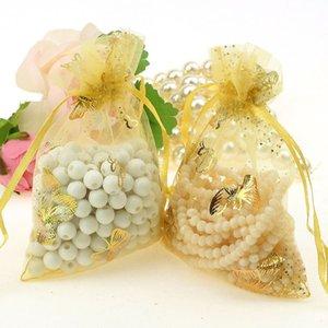 100PCS / الكثير 11 * 16CM شبكة حقائب هدية الزفاف مع الرباط مجوهرات حقائب هدية الحقيبة للمجوهرات