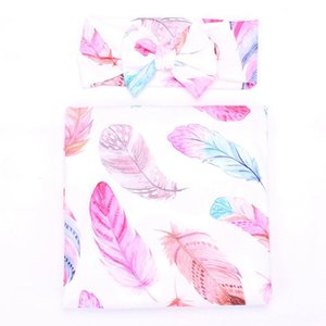 Newborn Baby Blankets & Swaddling Nursery Bedding Swaddle Floral Receiving Blankets withHeadband Value Set Feather