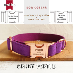 MUTTCO özel perakende kendinden tasarım köpek tasması CANDY PURPLE oyulmuş el yapımı hayvan ismi köpek tasması ve tasma UDC029M 5sizes