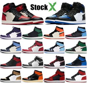 Jumpman 1 1s Баскетбол обувь Черный Белый Золото Reverse Бред Royal Toe суд Фиолетовый Pine Green Чикаго High Мужские Кроссовки Открытый кроссовки