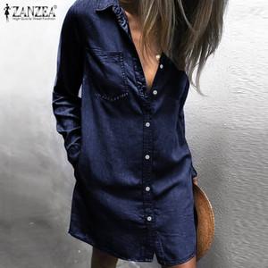 abrigo de la moda falda corta cuello kassalabel bolsillo de sol de las mujeres Zanzea miniskirt atractivo 2019 de las mujeres de los pantalones vaqueros butterfly Descarga