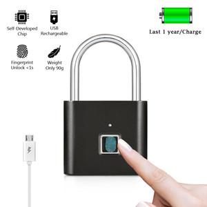 Cerradura inteligente de huellas dactilares Sin llave USB Puerta recargable Maleta de equipaje Bolsa Cerradura Antirrobo Seguridad Candado de huella digital