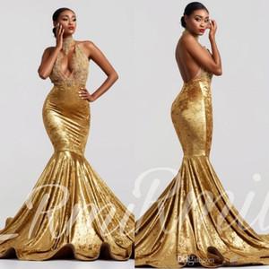 Elegante Halter Velvet sirena Prom Dresses 2020 Applique del merletto Backless sweep treno Abiti da sera vestido de festa BC3352