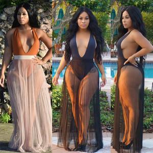 Nouvelle mode des femmes plissés Bikini Cache-maillots de bain Sheer Mesh Long Beach Maxi jupe portefeuille Paréo Sexy Robe