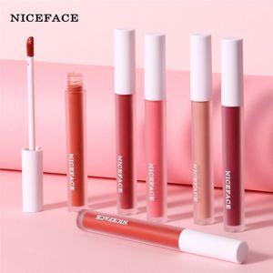 NICEFACE 12 цветов Matte Lipstick супер сексуальный макияж водонепроницаемый Жидкая помада Бархатный Блеск для губ Блеск для губ Beauty Pink Red Lip