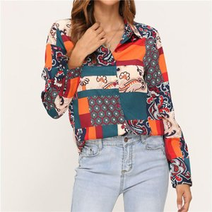 Printed Panelled Women Shirts Designer Vintage Loose Long Sleeve Lapel Neck Button Shirts Casual Fashion Women Blouses