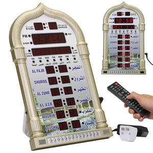 Islamique Azan Horloge Lecture de musique Reminding Mosquée automatique numérique Ramadan Led mur Tableau musulman Calendrier Prière cadeau Y200407