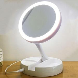 LED Işıklı Makyaj Aynası Taşınabilir Büyütme Çift Gece Işığı BH2475 TQQ ile yansıtıcı ayna Makyaj Ayna Kadınlar Makyaj Taraflı * Katlanabilir 10