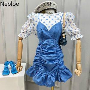 Neploe 2 Piece Set Women Polka Dot O Neck Puff Sleeve Blouse+Pleated Ruffles Spaghetti Strap Dresses Fashion Suits 1D769