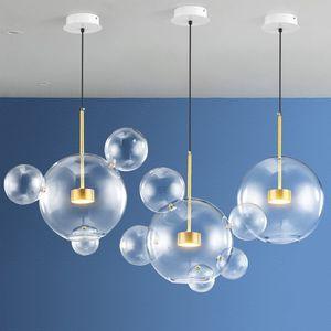 بول مصباح الحديثة أدى قلادة ضوء الزجاج غلوب أدى شنقا مصباح تركيبات الإضاءة بريقا luminaria داخلي تعليق مصباح