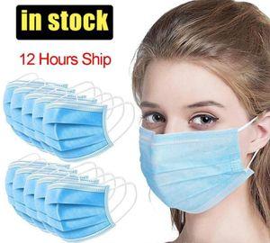 24H груза 50pcs Одноразовая маски для лица 3 слоя рта Non сплетенные Anti-Dust Антибактериальные Earloops респираторы безопасности