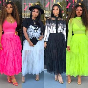 Bkld 2019 Summer Fashion Neon Green Casual High Waist Beach Sheer Mesh Skirts Womens Boho Asymmetrical Pink Long Tutu Skirt