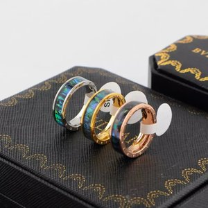 La fascia degli amanti di marca di nozze dell'acciaio di titanio dell'anello per le donne Zirconia rosa oro anelli di fidanzamento uomini gioielli regali spedizione gratuita migliore vendita