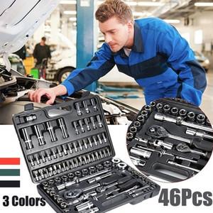 46pcs chave de soquete Set Hardware Spanner chave de fenda Ratchet Wrench Set Kit Car Reparação Ferramentas Combinação ferramenta Mão Define T200322