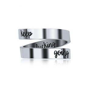 Personalized Keep Going Ring Gift for Men Women Stainless Steel Laser Side Party Jewelry Gift Ring