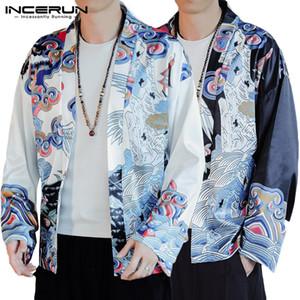2020 Primavera estilo chinês Impresso Cardigan shirt Para Tops Macho étnico Totem Kimono Men manga comprida Blusa Moda solto Blusa