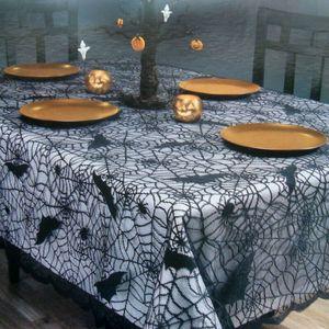 Spaventoso Halloween Tovaglia Porta Finestra Tenda Festa Pipistrelli Spider Stampato Copertine Decorazioni Quadrate Tondo