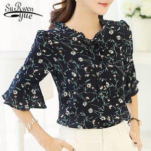 2019 Summer chiffon shirt Women Blouses Fashion half sleeve Plus Size printing women's clothing sweet women's Tops blusas 31J 30 Y200622